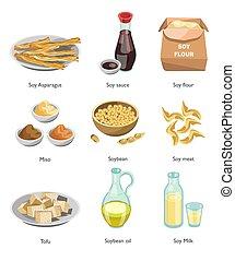soja, pratos, ingrediente, vegan, cozinhar, menu, alimento,...