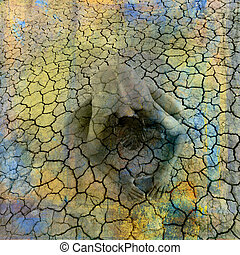 Sojourn - Female figure being in cracked earth. Photo based...