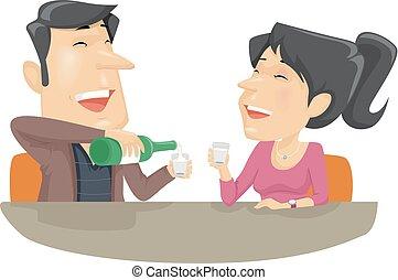 soju, pareja, bebida, alcohol