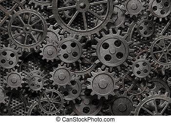 sok, öreg, rozsdaszínű fém, fogaskerék-áttétel, vagy, gép...