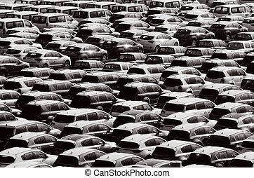 sok, új, autók, elvont, háttér, struktúra