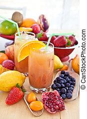 sok, świeży, różny, owoce
