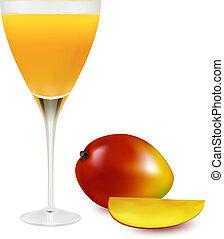 sok, świeży, szkło., wektor, mangowiec