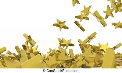 sok, arany-, csillaggal díszít, bukás, white, háttér