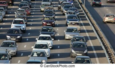 sok, autók, képben látható, város, autóút