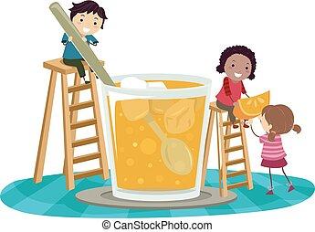 sok, dzieciaki, stickman, ilustracja