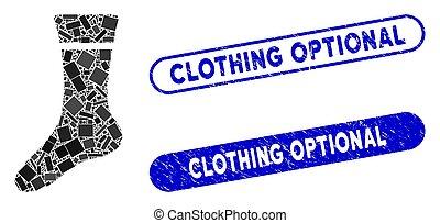 sok, kleding, gekraste, optional, mozaïek, zegels, rechthoek