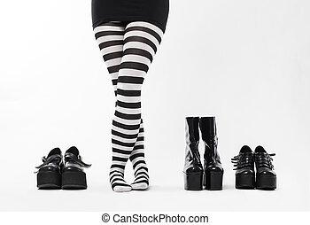 sok, nő, cipők