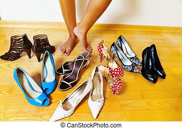 sok, nő, cipők, kiválaszt
