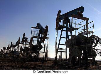 sok, olaj, árnykép, körömcipő, dolgozó
