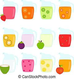 sok, owoc, dzbanki, wypełniony