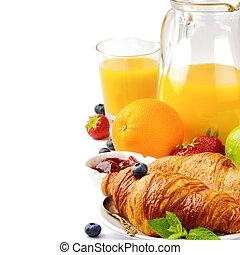sok pomarańczowy, śniadanie, świeży, croissanty