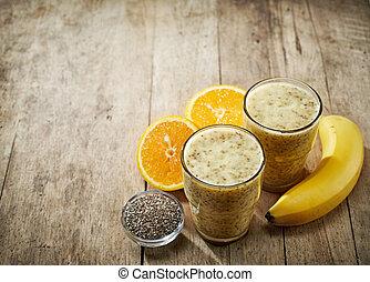 sok pomarańczowy, banan, zdrowy