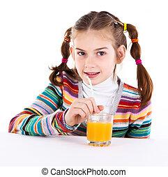 sok pomarańczowy, mały, picie, dziewczyna