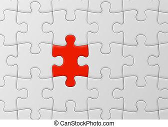 sok, rejtvény, lombfűrész, egy, piece., fehér, egyedülálló, concept., piros