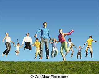 sok, ugrás, család, fű, kollázs