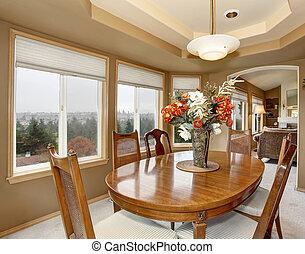 sok, windows., dinning, szoba, finom