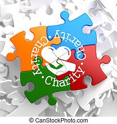 sokszínű, fogalom, puzzle., jótékonyság