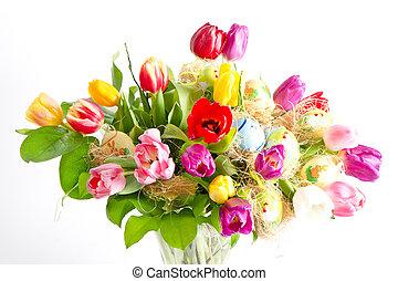 sokszínű, friss, eredet, tulipánok, noha, easter ikra