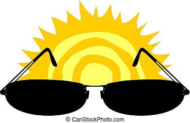 sol, óculos de sol, ilustração