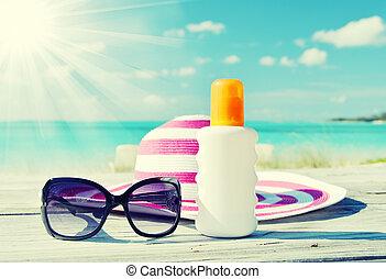 sol, óculos de sol, loção