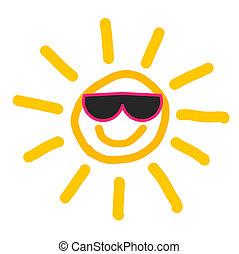sol, óculos de sol