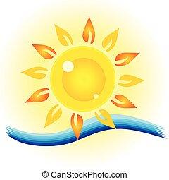 sol, ögon, hav, illustration