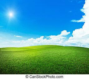 sol, över, kullar