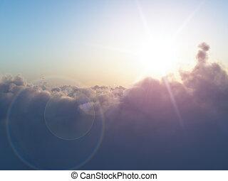 sol, över, skyn
