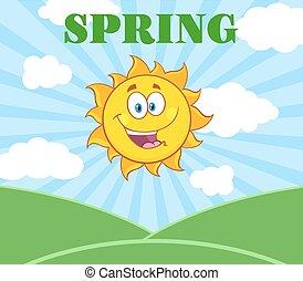 sol, över, solsken, landskap, lycklig