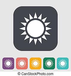 sol, único, apartamento, icon.