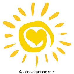 sol, abstrakt, hjärta