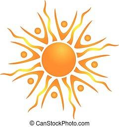 sol, abstrakt, vektor, teamwork, ikon