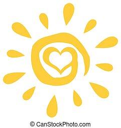 sol, abstratos, coração