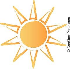 sol, abstratos, escovado, logotipo