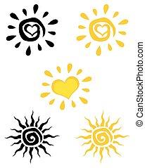 sol, abstratos, jogo, cobrança