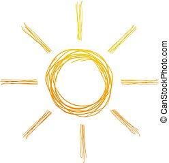 sol, abstratos, linhas, ilustração, desenho