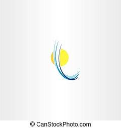 sol, abstratos, onda, água, logotipo, ícone