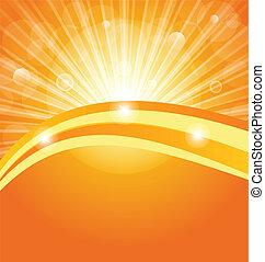 sol, abstratos, raios, fundo, luz