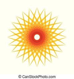 sol, abstratos, vetorial, ícone