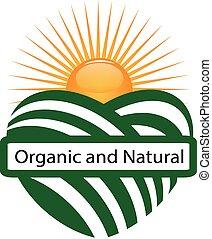 sol, agricultura, orgânica, marca, logotipo