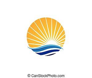 sol, agua, onda, icono, vector, ilustración