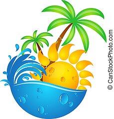 sol, agua, ondas, y, palmas