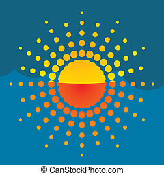 sol alaranjado, ilustração artística