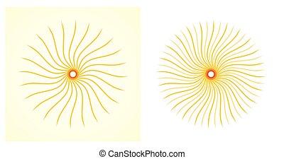 sol alaranjado, jogo, ilustração artística