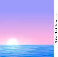 sol, amanhecer, fundo, mar