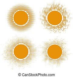 sol amarelo, halftone, formas