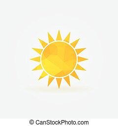 sol amarelo, polygonal, logotipo, ou, poly, ícone