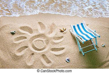 sol, areia, deckchair, praia, desenhado