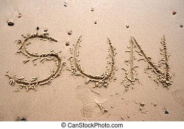 sol, areia, -, escrita